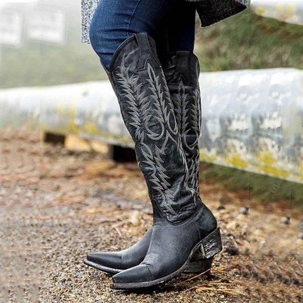 Artificial Leather Knee-High Boots in Three Colors with Embroidery