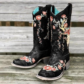 Artificial Leather Knee-High Boots in Two Colors with Flower Embroidery