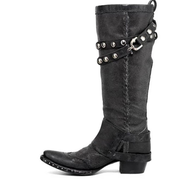 Artificial Leather Knee-High Boots with Rivet Designs in Two Colors