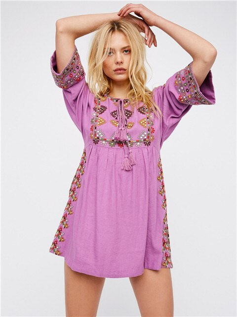 Embroidered Mini Short Dress in Three Colors