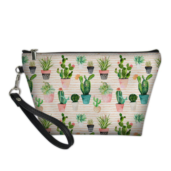 Artificial Leather Floral Cactus Print Makeup Bag