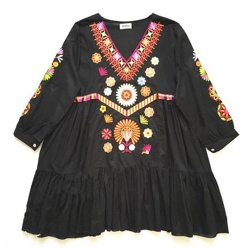 Hand Embroidered Tunic Dress in Four Colors