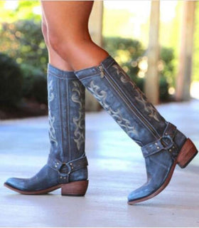 Artificial Leather Knee-High Boots in Blue