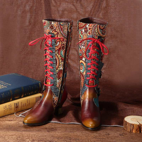 Genuine Leather Bohemian Stiletto High Heel Boots