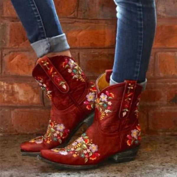 Artificial Leather Mid-Calf Boots in Three Colors with Floral Pattern