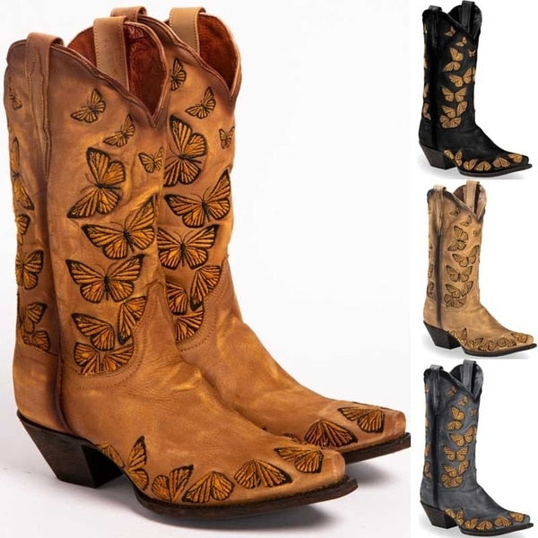 Larger Shoe Size Artificial Leather Mid-Calf Boots in Four Colors with Butterfly Embroidery