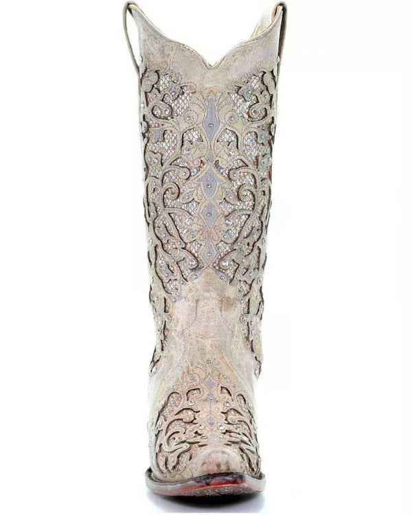 Artificial Leather Knee-High Boots with Crystal Decorations