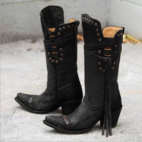 Artificial Leather Mid-Calf Lace-Up Boots with Rivet Decorations