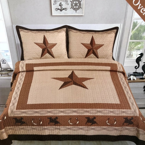 Western Star Rustic Tan Riding Cowboy Bedspread Quilt Three Piece Set