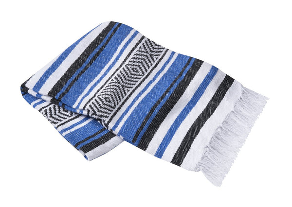 Handmade Mexican Striped Blanket 54 in. x 80 in in Blue or Purple