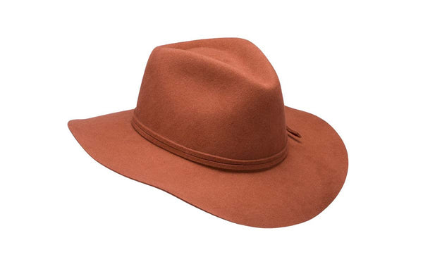 Texas Wool Felt Wide Brim Fedora in Burnt Orange