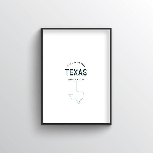 Texas Word Art Print - State Line