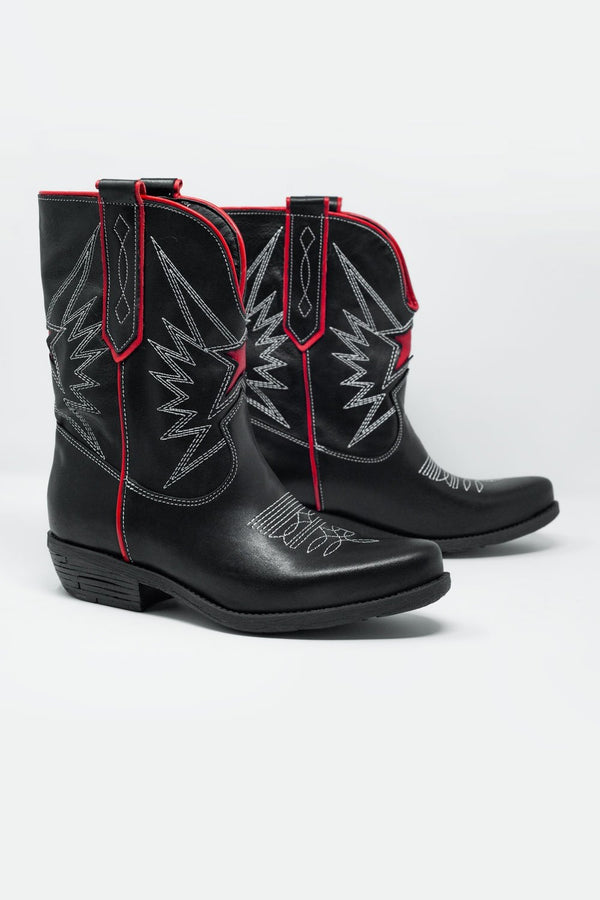 Genuine Leather Italian Black Ankle Boots With Red Detail