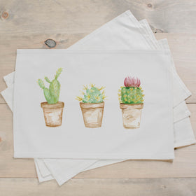 Handcrafted Cactus Watercolor Placemats in Two Colors from 1 to 8 Count