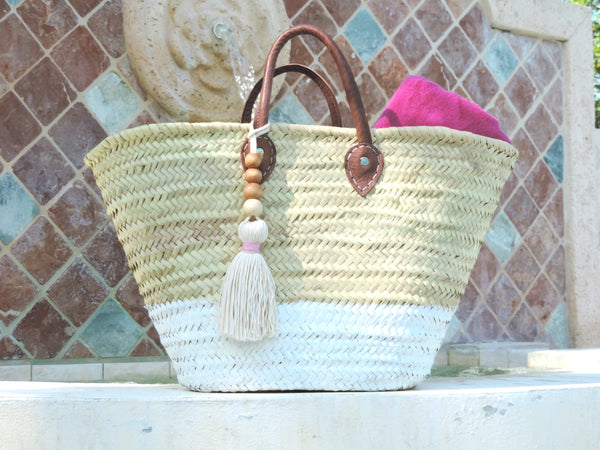 Handwoven Straw Bag with Two Tone Rustic Design