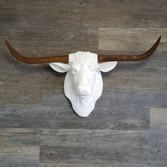 Hand Painted Faux White Texas Longhorn With Rust Horns