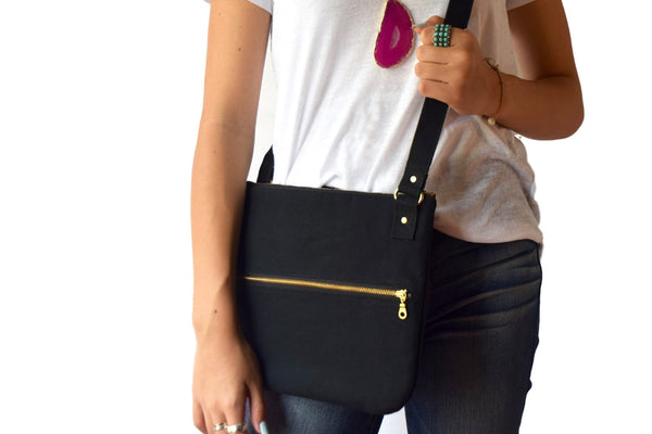 Handcrafted in Texas Crossbody Bag In Black Waxed Canvas