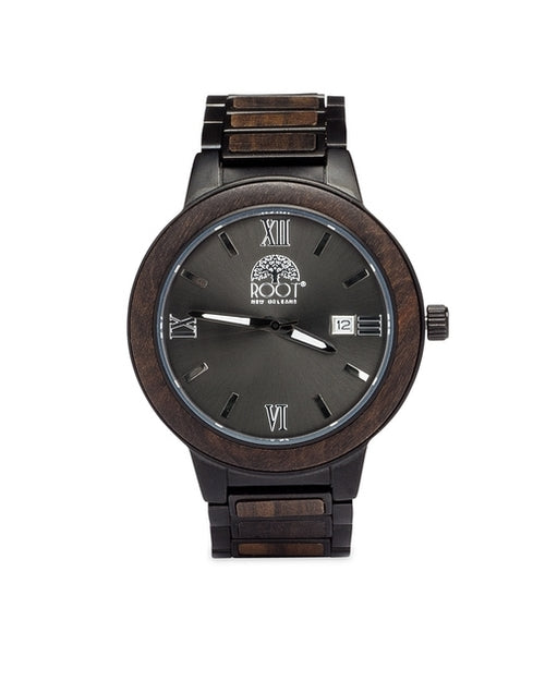 Handcrafted Ebony Wood & Stainless Steel Gianni VII Watch