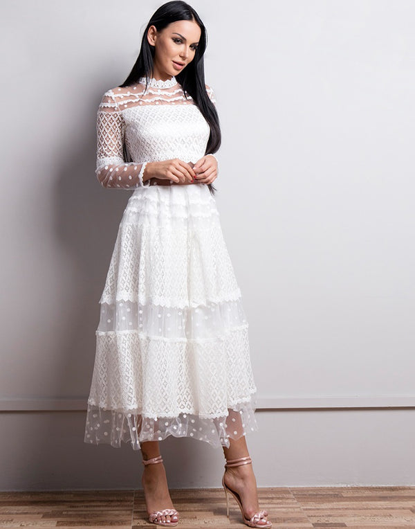Mid Calf See Through Dress in White or Black by Evelyn Belluci