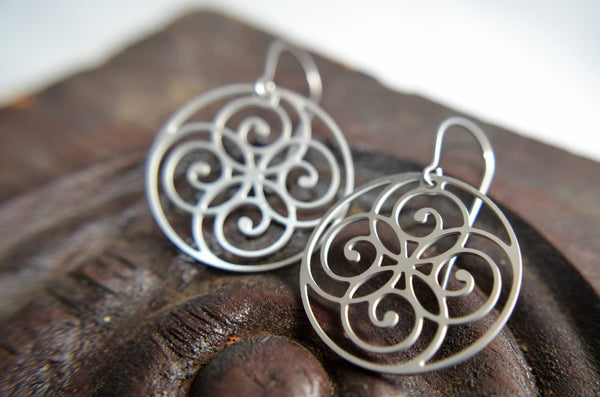 Spiral Circle Earrings in Stainless Steel
