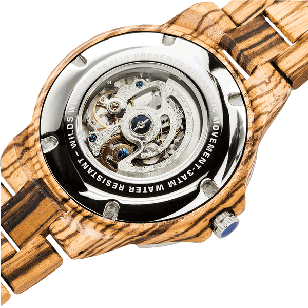 Handcrafted Mechanical Zebra Wood Watch