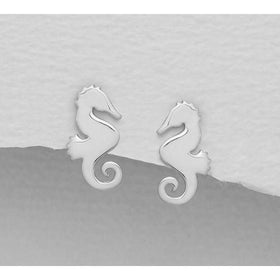 Silly Seahorse Sterling Silver Earrings