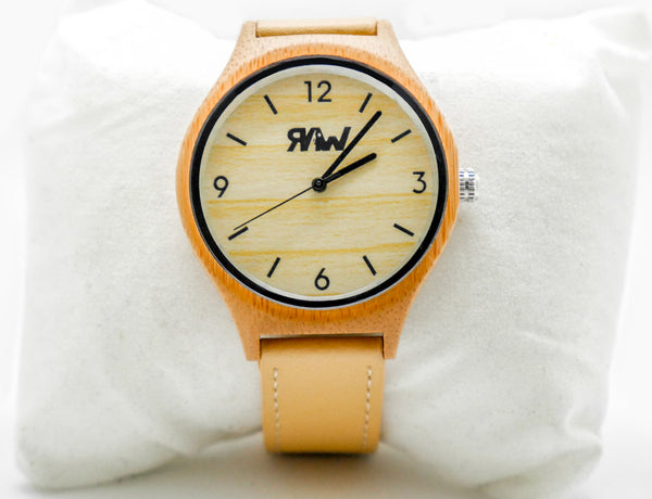 Bamboo Case Single Leather Strap Watch