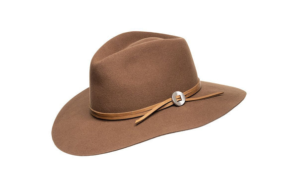 Texas Wool Felt Wide Brim Fedora in Light Brown