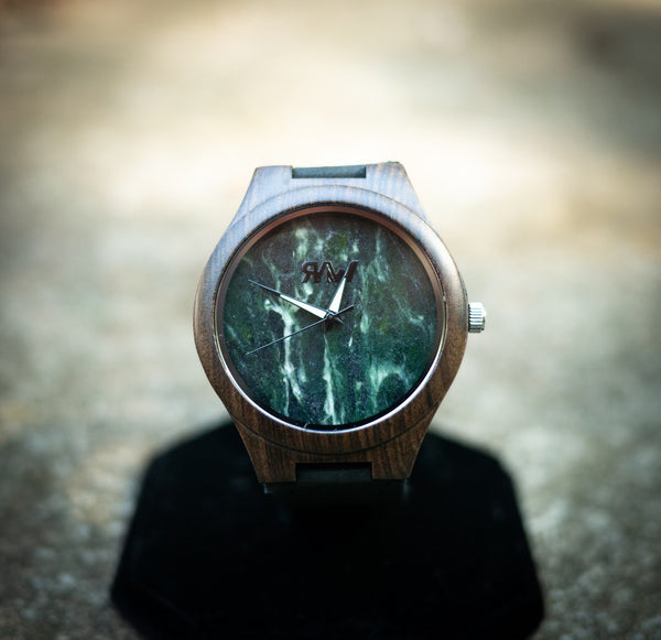 Ebony Wood Watch with Marble Face and Leather Strap