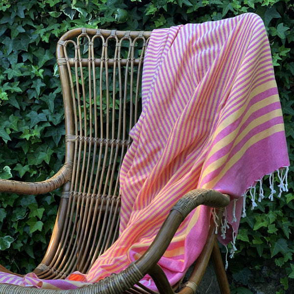 Hand Loomed Striped Ultra Soft Blanket Throw in Pink from Turkey