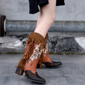 Genuine Leather Knee-High Hand-Painted Boots with Tassels