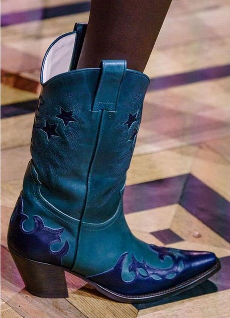 Genuine Leather Buono Scarpe Western Embroidered Boots in Seven Color Combinations