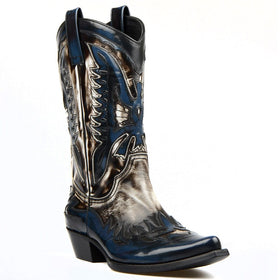 Genuine Leather Mid-Calf Dark Blue & White Leather Western Boots