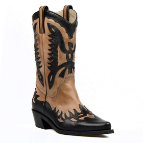 Genuine Leather Beige Black Pointed Toe Boots