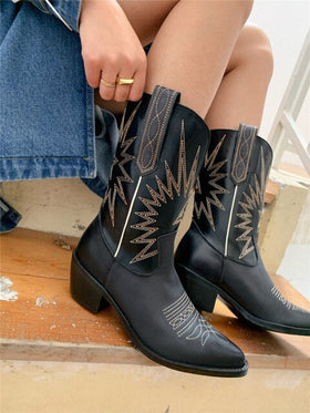 Genuine Leather Mid-Calf Western Boots With Embroidery