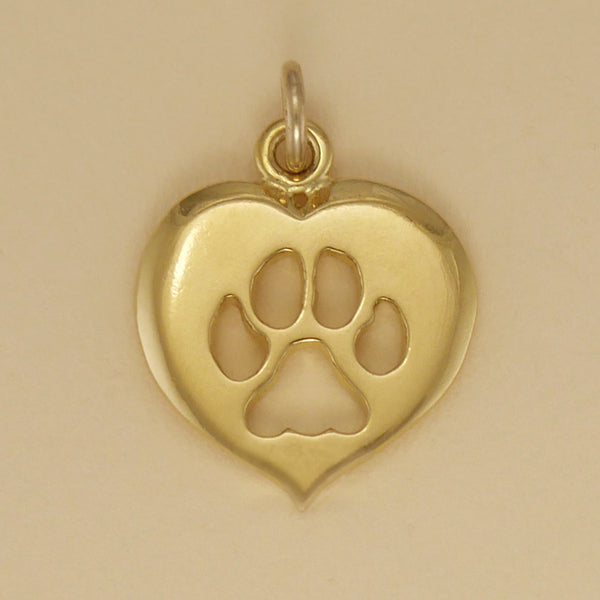 Cat Paw Print Heart Charm