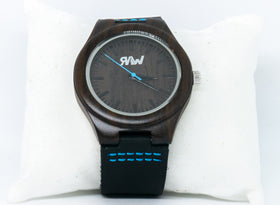 Ebony Wood Stealth Panther Watch with Leather Band