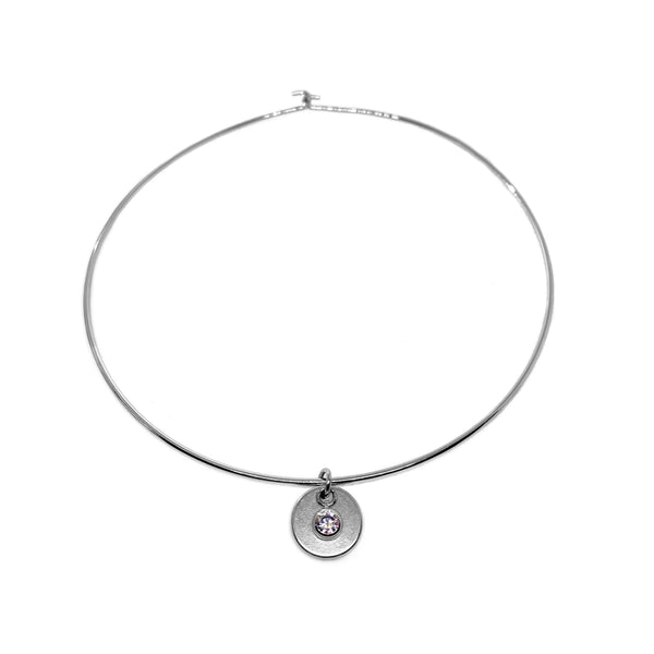 Silver-Plated Choker Necklace with Handcrafted Charm