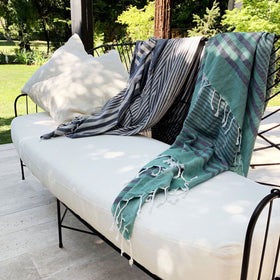 Hand Loomed Striped Ultra Soft Blanket Throw in Green from Turkey