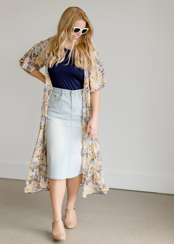 Kara Midi Skirt with Lace Detail