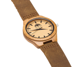 Handcrafted Bamboo Case Watch with Leather Band