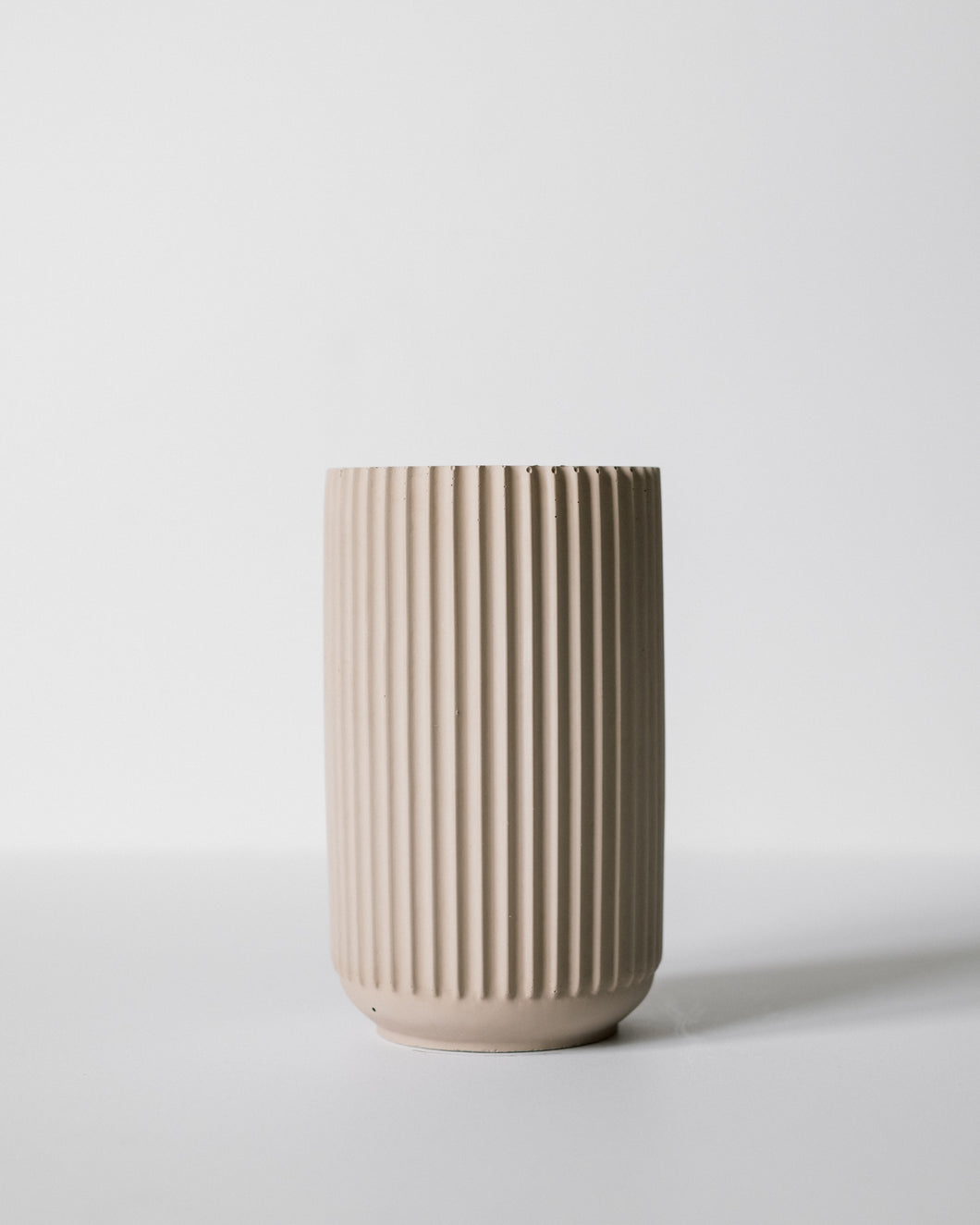 Tall Ridged Vase - Sandstone