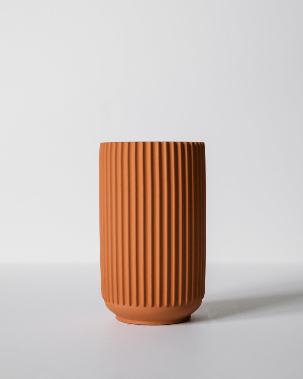 Tall Ridged Vase - Terracotta