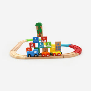Blocks Train Set With Colorful Tracks