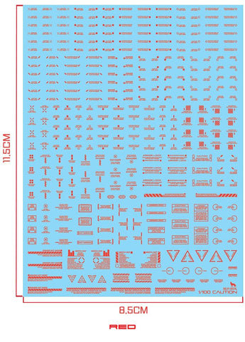 Delpi Decals: 1/100 MECHANICAL CAUTION WATER DECAL (Multiple Colors Available) - Trinity Hobby