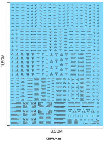 Delpi Decals: 1/144 MECHANICAL CAUTION WATER DECAL (Multiple Colors Available) - Trinity Hobby