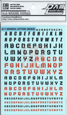 SIMP A11 General Letters( Black & Red)