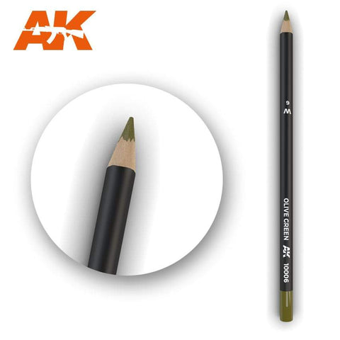 AK Interactive Watercolor Pencil Olive Green - Trinity Hobby