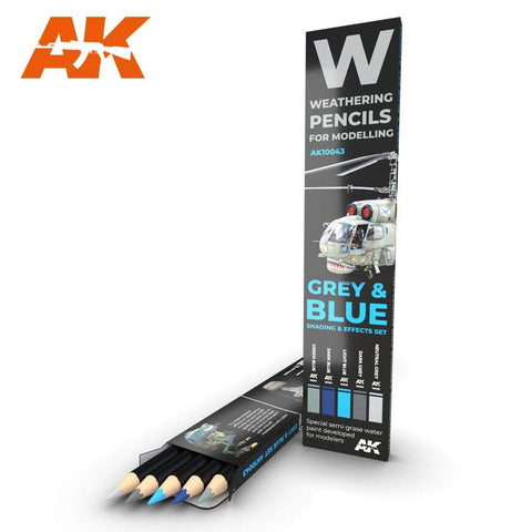 AK Interactive Watercolor Pencil Set Grey And Blue Camouflages - Trinity Hobby
