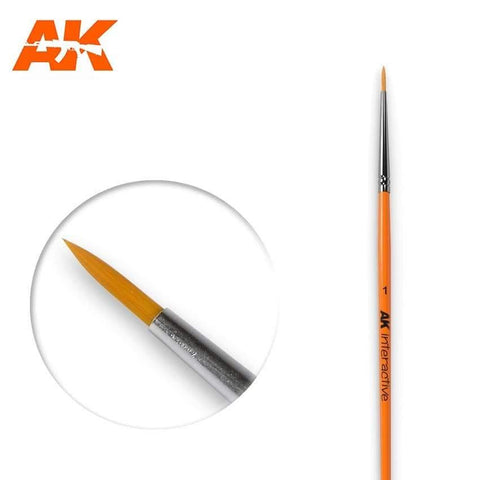 AK Interactive: AK Interactive Round Brush 1 Synthetic - Trinity Hobby